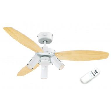 Люстра с вентилятором Westinghouse Jet Plus White 78703WES ∅ 105 см, белый/светлый клен,3 плафона, 3 лампы, 3 лопасти