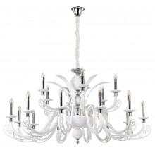 Подвесная светодиодная люстра Crystal Lux LETISIA SP12+6 WHITE Хром/Белый
