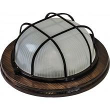 Накладной светильник Feron НБО 03-60-022 220V 60Вт Е27 IP54 дерево орех круг с решеткой (арт. 11574)