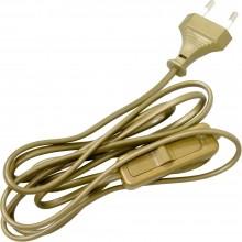 Сетевой шнур Feron KF-HK-1 230V 1.9м (с выключателем) золото