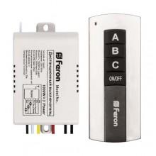 Выключатель дистанционный Feron TM76 230V 1000W 3-х канальный 30м с пультом управления, черное серебро (арт. 23345)