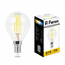 Лампы светодиодные филамен Feron LB-52 7W 230V E14 2700K G45 (арт. 25874)