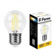 Светодиодная лампа филамент Feron LB-52 7W 230V E27 2700K G45 (арт. 25876)