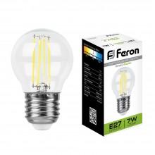 Светодиодная лампа филамент Feron LB-52 7W 230V E27 4000K G45 (арт. 25877)