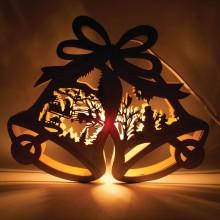 """Деревянная световая фигура """"Колокольчики со снеговиком"""" Feron LT067 24*29*5cm теплый белый (арт. 26825)"""