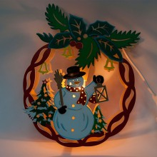 """Деревянная световая фигура """"Новогодний шар со снеговиком"""" Feron LT068 22*28*5cm теплый белый (арт. 26826)"""