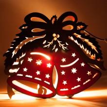 """Деревянная световая фигура """"Колокольчики красные"""" Feron LT069 25*30*5cm теплый белый (арт. 26827)"""