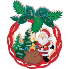 """Деревянная световая фигура """"Новогодний шар с Санта-Клаусо"""" Feron LT084 22*28*5cm теплый белый (арт. 26832)"""