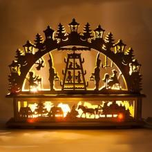"""Деревянная световая фигура """"Панно Сказка"""" Feron LT089 45*35*6cm теплый белый (арт. 26837)"""
