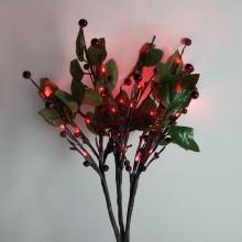 Светодиодная декоративная ветка с ягодами и листьями Feron LD217B 55,8cm 30LED белый (арт. 26892)