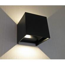 Светильник настенный светодиодный Kink Light 08585,19(3000K) Куб черный w10x10 h10 Led 6w (3000K) IP65