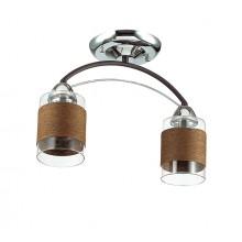 Люстра потолочная Lumion 3030/2C хром/кофе/стекло/декор.тесьма E27 2*60W 220V FILLA