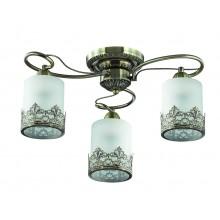 Люстра потолочная Lumion 3070/3C бронзовый/стекло/метал. декор E27 3*40W 220V CITADELLA