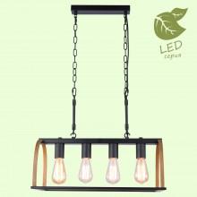 Светильник подвесной лофт Lussole LOFT LSP-8575 (GRLSP-8575) Cornville черный/коричневый E27 60 Вт
