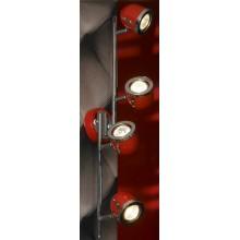 Светильник спот Lussole LSN-3109-04 Tivoli, 4 плафона, хром с красным