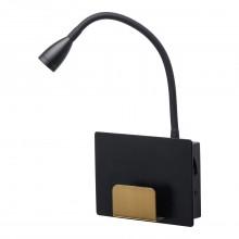 Настенный светодиодный светильник De Markt 492026101 Котбус 1*3W LED 220 V черный, латунь, гибкий рожок