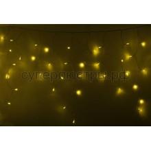 Гирлянда Айсикл (бахрома) светодиодный, 2,4 х 0,6 м, прозрачный провод, 230V, желтый, 88 LED, Neon-Night 255-051