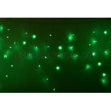 Гирлянда Айсикл (бахрома) светодиодный, 2,4 х 0,6 м, прозрачный провод, 230V, зеленый, 88 LED, Neon-Night 255-054