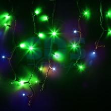 Гирлянда Айсикл (бахрома) светодиодный, 4,0 х 0,6 м, с эффектом мерцания, черный провод, 230V, зеленый, 128 LED, Neon-Night 255-234