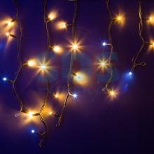 Гирлянда Айсикл (бахрома) светодиодный, 4,0 х 0,6 м, с эффектом мерцания, черный провод, 230V, теплый белый, 128 LED, Neon-Night 255-236