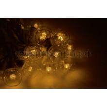 Гирлянда LED Galaxy Bulb String 10м, черный провод, 30 ламп*6 LED желтые, влагостойкая IP54, Neon-Night 331-321