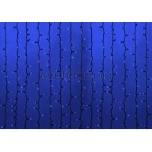 Гирлянда Светодиодный Дождь 2*1,5м, постоянное свечение, темно-зеленый провод, 220В, диоды синие Neon-Night 235-123