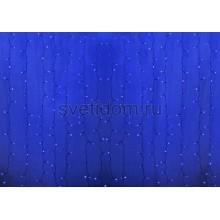 Гирлянда Светодиодный Дождь 2*3м, постоянное свечение, прозрачный провод, 220В, диоды синие Neon-Night 235-153