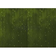 Гирлянда Светодиодный Дождь 2*6м, постоянное свечение, черный провод, 220В, диоды зеленые Neon-Night 235-164
