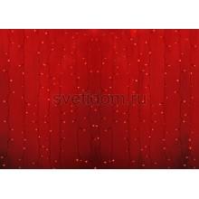 Гирлянда Светодиодный Дождь 2*1,5м, постоянное свечение, прозрачный провод, 220В, диоды красные Neon-Night 235-302