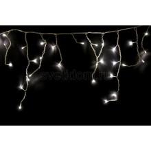 Гирлянда Айсикл (бахрома) светодиодный, 1,8*0,5 м, прозрачный провод, 220В, диоды белые Neon-Night 255-015