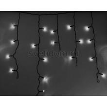 Гирлянда Айсикл (бахрома) светодиодный, 2,4*0,6 м, черный провод, 220В, диоды белые Neon-Night 255-032