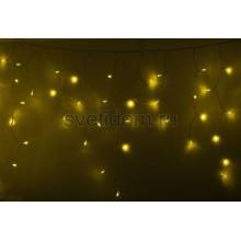 Гирлянда Айсикл (бахрома) светодиодный, 4,8*0,6 м, прозрачный провод, 220В, диоды желтые Neon-Night 255-141