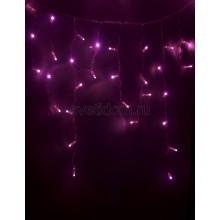 Гирлянда Айсикл (бахрома) светодиодный, 4,8*0,6 м, прозрачный провод, 220В, диоды розовые Neon-Night 255-148