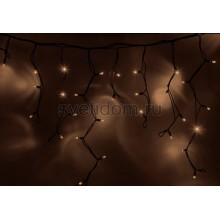 Гирлянда Айсикл (бахрома) светодиодный, 4,0х0,6м, черный провод каучук, 220В, диоды тепло-белые Neon-Night 255-226