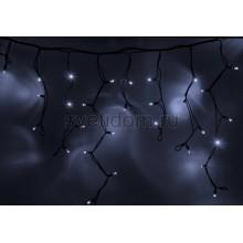 Гирлянда Айсикл (бахрома) светодиодный, 5,6х0,9м, с эффектом мерцания,черный провод каучук, 220В, диоды белые Neon-Night 255-255
