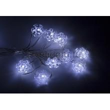 Гирлянда светодиодная Снежинки, 2м, 20 диодов, цвет белый Neon-Night 303-010