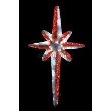 """Фигура """"Звезда 8-ми конечная"""", LED подсветка высота 120см, красно-белая Neon-Night 506-241"""