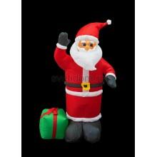 """3D фигура надувная """"Дед Мороз с подарком"""", размер 120 см, внутренняя подсветка 3 лампы, компрессор с адаптером 12В, IP44 Neon-Night 511-054"""