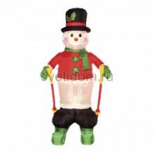 """3D фигура надувная """"Снеговик на лыжах"""", размер 180 см, внутренняя подсветка 2 лампы, компрессор с адаптером 12В, IP44 Neon-Night 511-204"""