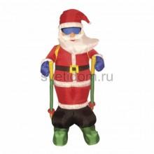 """3D фигура надувная """"Дед мороз на лыжах"""", размер 180 см, внутренняя подсветка 2 лампы, компрессор с адаптером 12В, IP44 Neon-Night 511-207"""