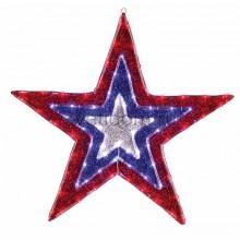 """Фигура """"Звезда"""" бархатная, с динамикой, размеры 91 см (129 светодиод красный+голубой+белый цвета) Neon-Night 514-022"""